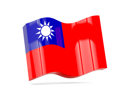 the republic of china: Wave icon with flag of republic of china. 3D illustration