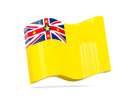 niue: Wave icon with flag of niue. 3D illustration
