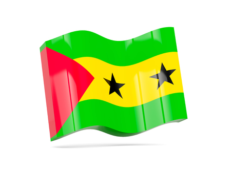 tome: Wave icon with flag of sao tome and principe. 3D illustration