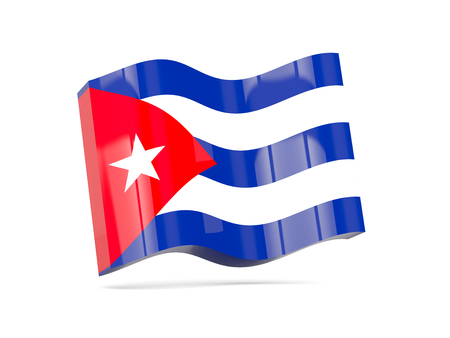 flag of cuba: Wave icon with flag of cuba. 3D illustration