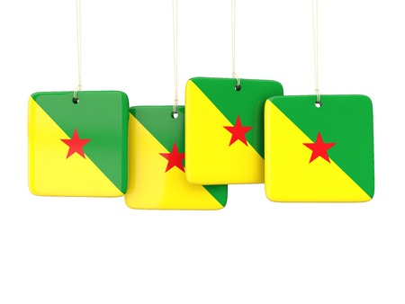 french guiana: Square labels with flag of french guiana. 3D illustration Stock Photo