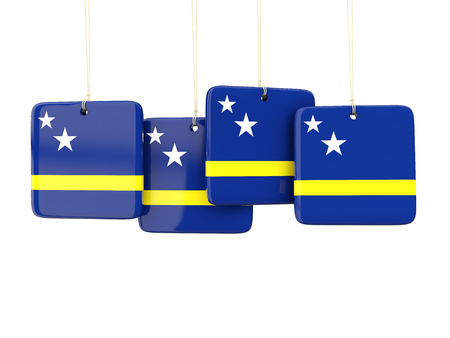 curacao: Square labels with flag of curacao. 3D illustration Stock Photo