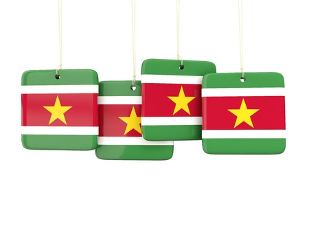 suriname: Square labels with flag of suriname. 3D illustration