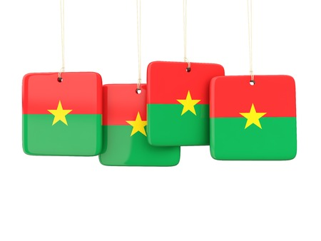 burkina faso: Square labels with flag of burkina faso. 3D illustration