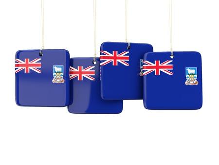 falkland: Square labels with flag of falkland islands. 3D illustration Stock Photo