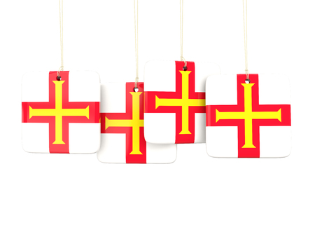 guernsey: Square labels with flag of guernsey. 3D illustration