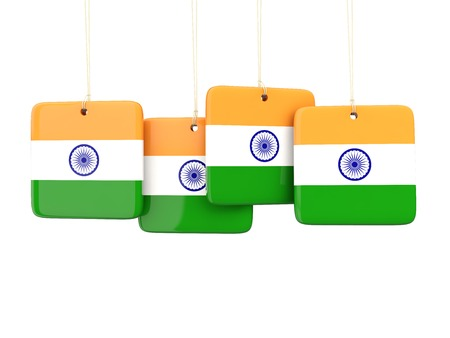 india 3d: Square labels with flag of india. 3D illustration Stock Photo
