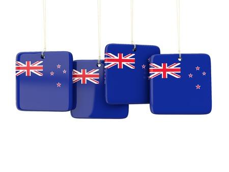 bandera de nueva zelanda: Square labels with flag of new zealand. 3D illustration