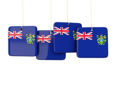 pitcairn: Square labels with flag of pitcairn islands. 3D illustration