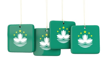 macao: Square labels with flag of macao. 3D illustration
