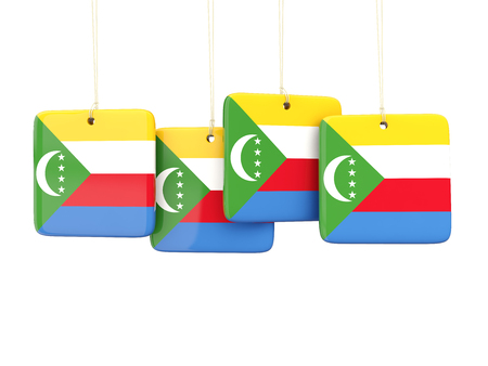 comoros: Square labels with flag of comoros. 3D illustration Stock Photo