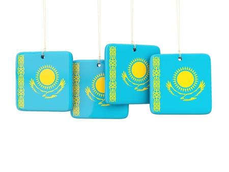 kazakhstan: Square labels with flag of kazakhstan. 3D illustration Stock Photo