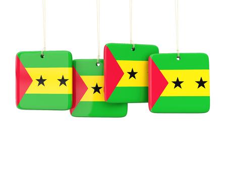 principe: etiquetas cuadrados con Bandera de Santo Tomé y Príncipe. ilustración 3D