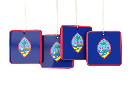 guam: Square labels with flag of guam. 3D illustration Stock Photo