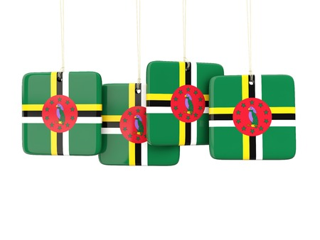 dominica: Square labels with flag of dominica. 3D illustration