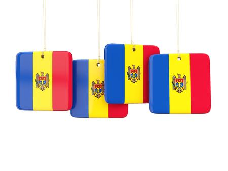 moldova: Square labels with flag of moldova. 3D illustration Stock Photo