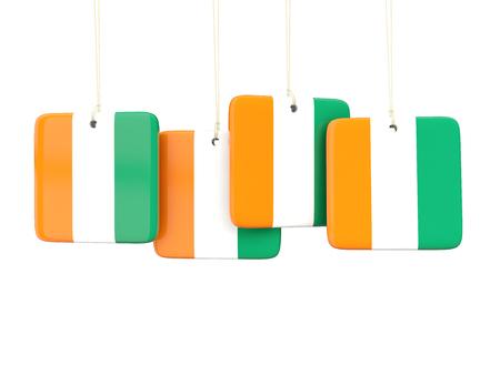 cote d ivoire: Square labels with flag of cote d Ivoire. 3D illustration