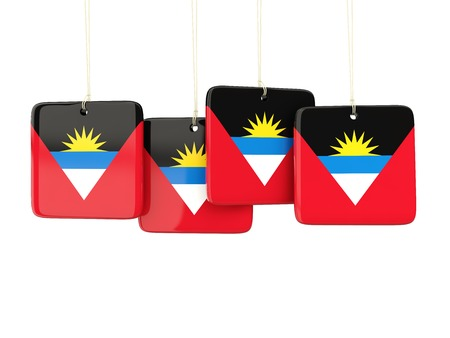 antigua: Square labels with flag of antigua and barbuda. 3D illustration