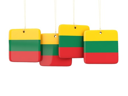 lithuania: Square labels with flag of lithuania. 3D illustration Stock Photo