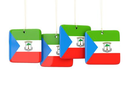 equatorial guinea: Square labels with flag of equatorial guinea. 3D illustration