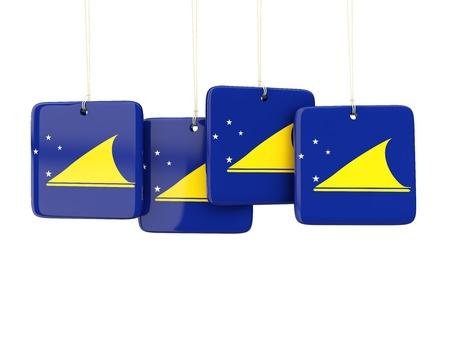 tokelau: Square labels with flag of tokelau. 3D illustration