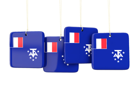 territories: Square labels with flag of french southern territories. 3D illustration