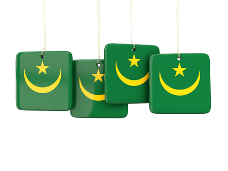 mauritania: Square labels with flag of mauritania. 3D illustration Stock Photo