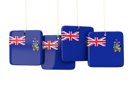 south georgia: Square labels with flag of south georgia and the south sandwich islands. 3D illustration Stock Photo