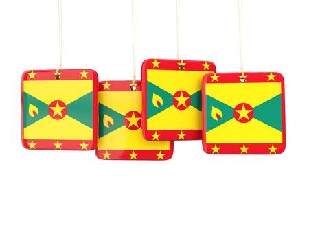 grenada: Square labels with flag of grenada. 3D illustration Stock Photo