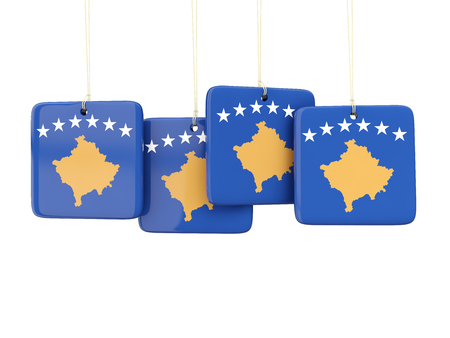 kosovo: Square labels with flag of kosovo. 3D illustration Stock Photo