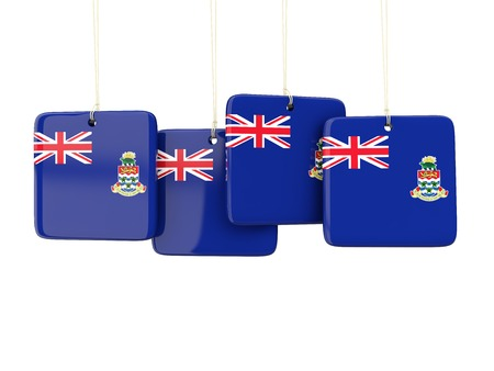 cayman: Square labels with flag of cayman islands. 3D illustration