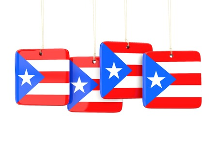 rico: Square labels with flag of puerto rico. 3D illustration Stock Photo