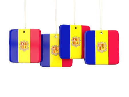 andorra: Square labels with flag of andorra. 3D illustration