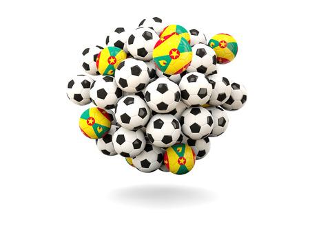 grenada: Pile of footballs with flag of grenada. 3D illustration