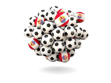 polynesia: Pile of footballs with flag of french polynesia. 3D illustration