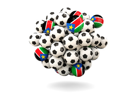 south sudan: Pile of footballs with flag of south sudan. 3D illustration