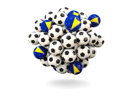 tokelau: Pile of footballs with flag of tokelau. 3D illustration Stock Photo