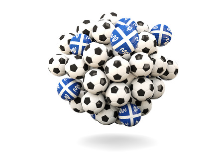 martinique: Pile of footballs with flag of martinique. 3D illustration Stock Photo