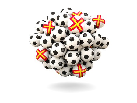 guernsey: Pile of footballs with flag of guernsey. 3D illustration Stock Photo