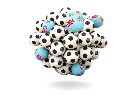 fiji: Pile of footballs with flag of fiji. 3D illustration Stock Photo