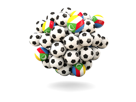 comoros: Pile of footballs with flag of comoros. 3D illustration