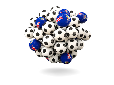 cayman: Pile of footballs with flag of cayman islands. 3D illustration