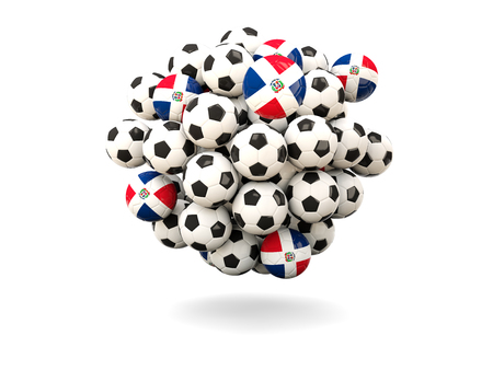 dominican republic: Pile of footballs with flag of dominican republic. 3D illustration