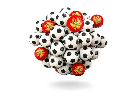 montenegro: Pile of footballs with flag of montenegro. 3D illustration Stock Photo