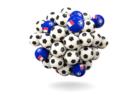 territories: Pile of footballs with flag of french southern territories. 3D illustration Stock Photo