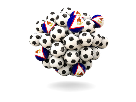 samoa: Pile of footballs with flag of american samoa. 3D illustration
