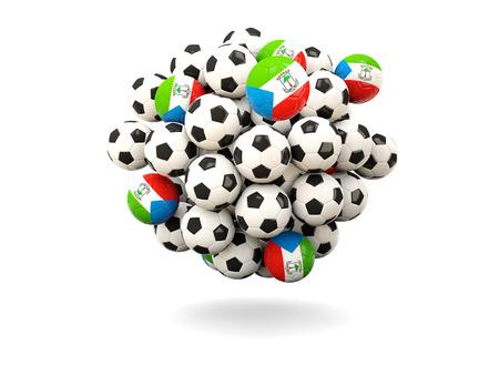 equatorial guinea: Pile of footballs with flag of equatorial guinea. 3D illustration