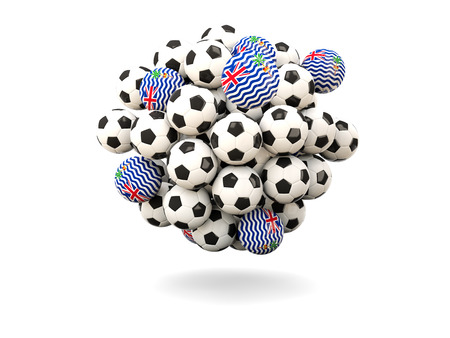 indian ocean: Pile of footballs with flag of british indian ocean territory. 3D illustration