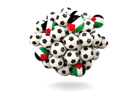 palestinian: Pile of footballs with flag of palestinian territory. 3D illustration