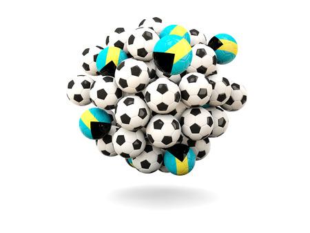 bahamas: Pile of footballs with flag of bahamas. 3D illustration